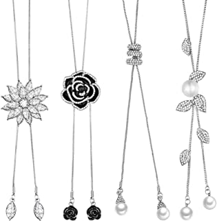 4 Pieces Long Pendant Necklace Elegant Tassel Necklace Sparkle Rhinestone Snowflake Pearl Sweater Necklace for Women Girls