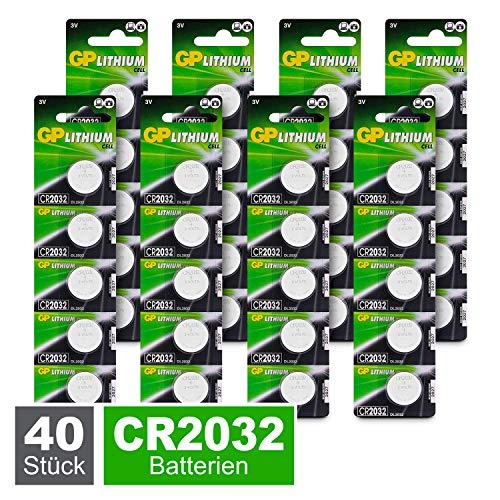 GP Lithium Knopfzellen CR2032 3V, Knopfbatterien CR 2032 / DL2032, Spannung 3 Volt (40 Stück Batterien CR2032 im 8X 5er Pack, Batterien einzeln entnehmbar)
