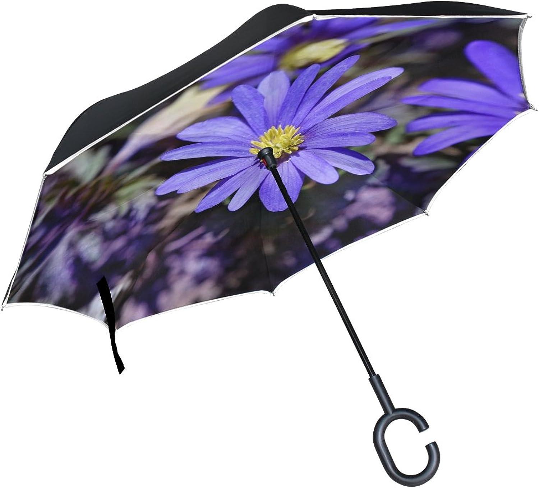 Double Layer Ingreened Balkan Anemone blueee blueee Flower Spring Flower Umbrellas Reverse Folding Umbrella Windproof Uv Predection Big Straight Umbrella for Car Rain Outdoor with CShaped Handle
