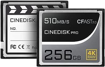 cinediskpro® Tarjeta de memoria CFast 2.04K Raw 256GB (Blackmagic Design URSA Mini Pro 4K 4.6K | Canon 1DX, Mark II C200C300C700| Hasselblad h6d-50C h6d-100C | Phantom veo S)