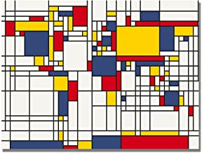 Mondrian World Map by Michael Tompsett, 18x24-Inch Canvas Wall Art