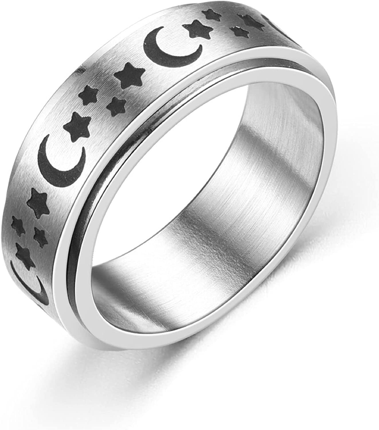 CHUXI Creative Titanium Steel Spinner Rings Moon and Star Fidget Ring Stress Relieving Anxiety Ring Engagement Wedding Band for Women Men Size 6-13