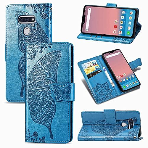 Teléfono Flip Funda Funda de billetera for LG STYLE3 L-41A, Caja de la cartera de la billetera de la banda de parachoques a prueba de choques / correa de muñeca / funda floral mariposa patrón cartera