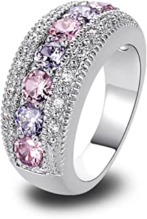 Emsione Women's 925 Sterling Silver Plated Round Created Pink Topaz & Amethyst Vintage Style Ring