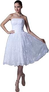 Snowskite Womens Strapless Short Lace Satin Beach Wedding Bridal Formal Dress
