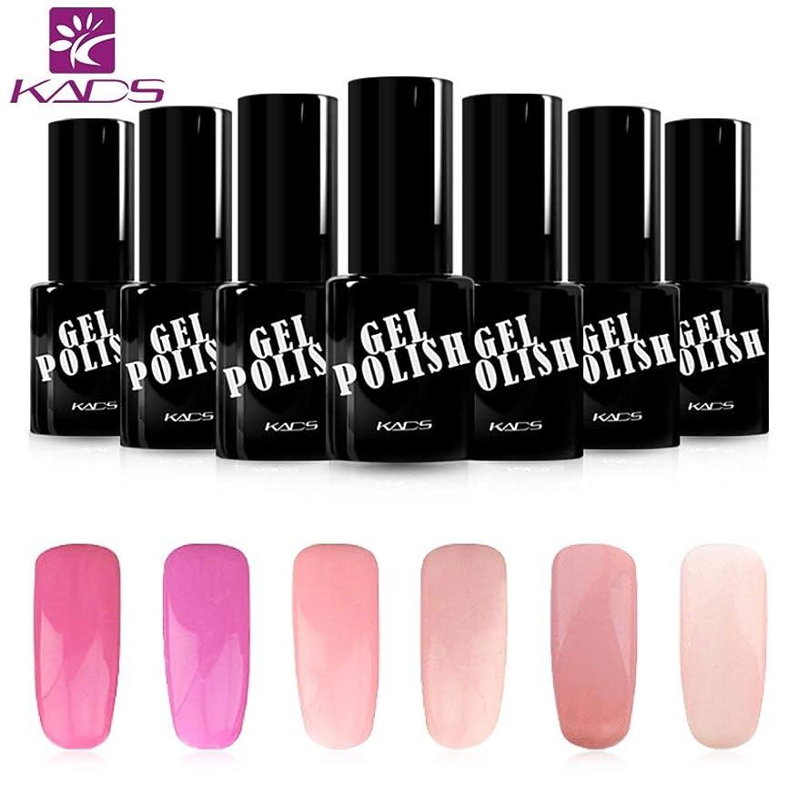 怠けた狭い知人KADS ジェルネイルカラーポリッシュ 6ボトルセット 桜の系 ピンク/パープル UV/LED対応 ピンク/パープル系 マニキュアセット (セット1)