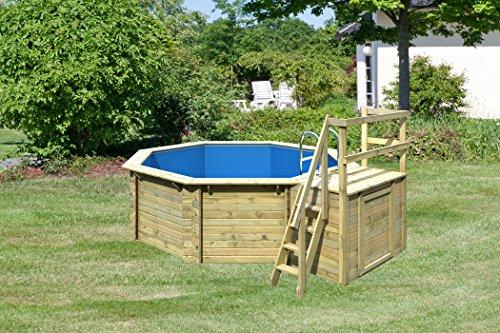 Paradies - Piscine en bois avec pare-soleil Accessoires de piscine pour le jardin - Tapis de bain...