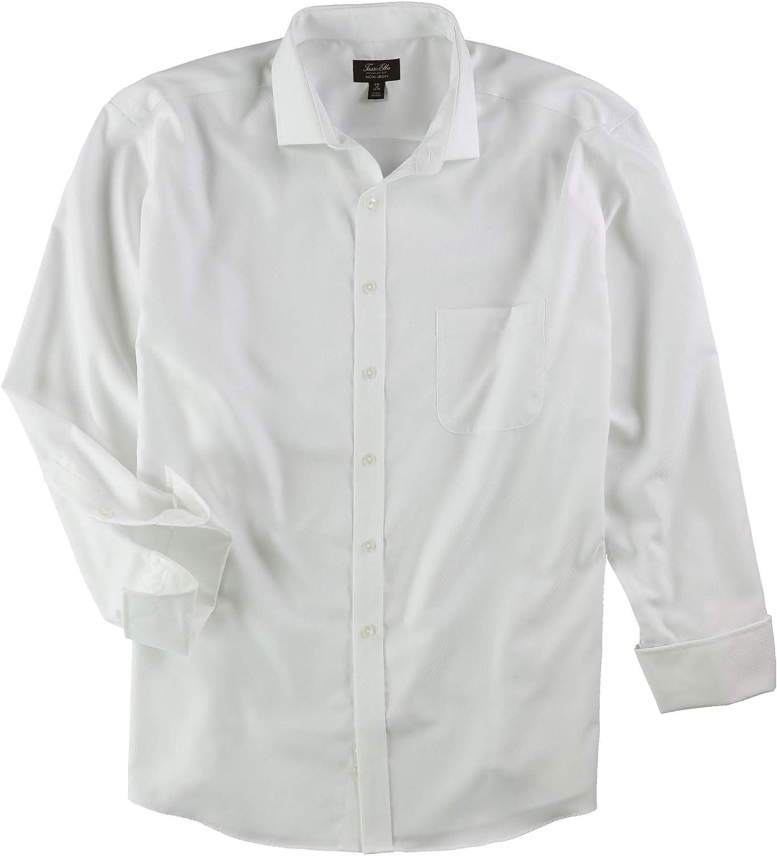 Tasso Elba Mens Double Diamond Button Up Dress Shirt White 17.5