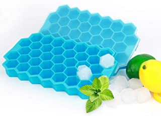 2 Pack - Silicone Ice Cube Tray Set - Honeycomb Flexible Stackable Ice Trays / Molds with Removable Covers / Lids - BPA Fr...