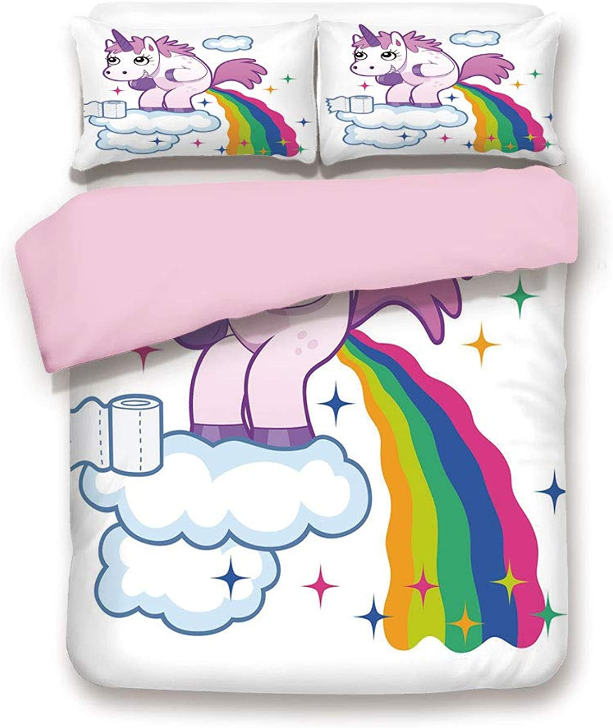 Pink Duvet Cover Set,Queen Size,Unicorn Rainbow over Clouds