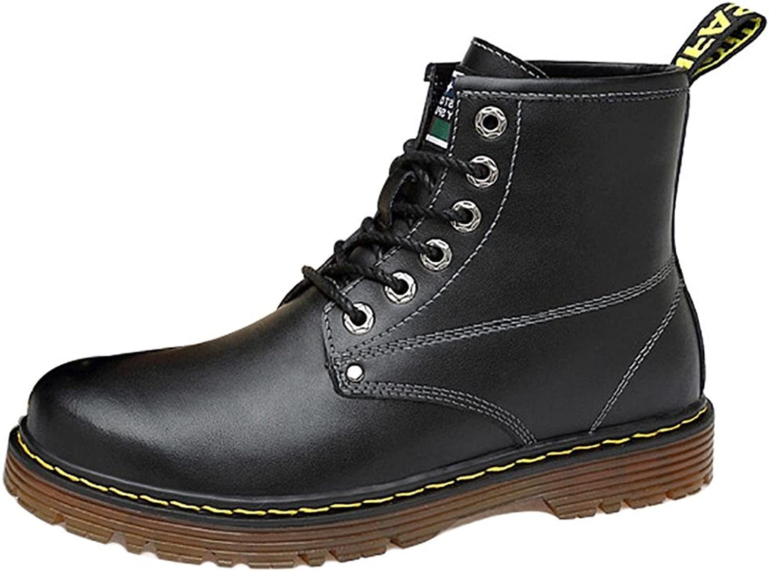 SYYAN Men's winter Plus cashmere leather lace High help Keep warm Martin boots black