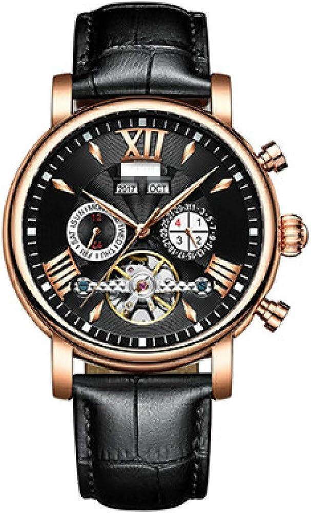 Reloj De Calendario Perpetuo, Relojes Mecánicos para Hombre Tourbillon para Hombre, Relojes Automáticos para Hombre 24cm Oro Negro