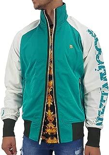 Men's Designer Lightweight Zip Up Track Jacket, Tropical Green