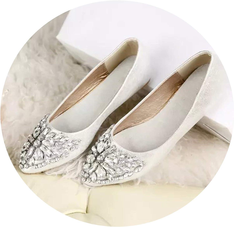 Fashion Single shoes Bling Rhinestone Wedding shoes Flat gold Silver Women's Flat Heel Casual shoes