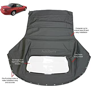 Compatible With Chevrolet Camaro 1994-2002 Convertible top & plastic window Black Sailcloth (1 piece Easy install)