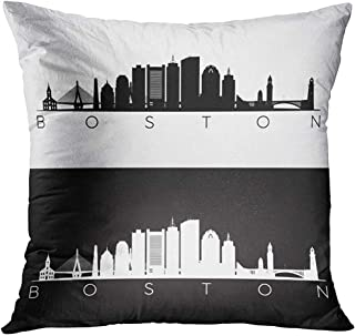 Throw Pillow Cover City Boston USA Skyline and Landmarks Silhouette Black and White Design Massachusetts Night Decorative Pillow Case Home Decor Square 18x18 Inches Pillowcase