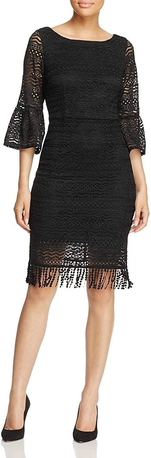 Adrianna Papell Womens Julia Lace Overlay Fringe Cocktail Dress