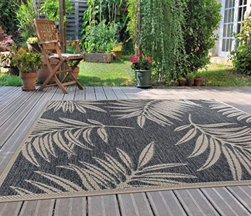 Rugshop Leaf Design Indoor/Outdoor Area Rug 5' x 7' Blue