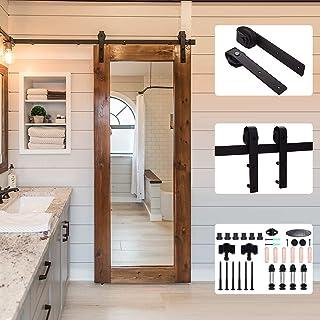 CCJH 6.6FT/2m 吊り引き戸 レール 金具 吊り扉 引戸diy建具 浴室 玄関 片開き木製バーンドア用