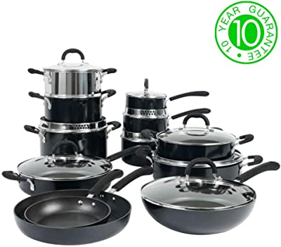 ProCook Gourmet Induction Stick-Resistant Strain-and-Pour Cookware Set 12 Piece