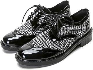 [THLD] ウィングチップ レースアップシューズ ドレスシューズ オックスフォードシューズ 女性用 エナメル バイカラー ウィングチップシューズ レディース 脚長 美脚 ブラック 黒 ローヒール 大きいサイズ 25.0cm チエック 履きやすい