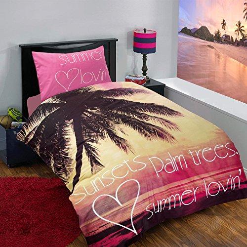 Nimsay Home Children's Kids Teenage Boys Girls Single Quilt Duvet Cover and Pillow Case Bedding Set (Beach Sunset Palm Trees)