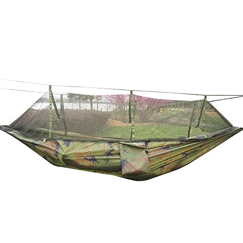 Rusee Camping Hammock, Mosquito Net Outdoor Hammock Travel Bed Lightweight  Parachute Fabric Double Hammock For