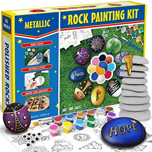 Bingo Castle Metallic Rock Painting Kit for Kids Adults, Arts and Crafts for Girls Including 9 Polished Rocks, 6 Acrylic + 6 Metallic Paint, 25 Transfer Designs