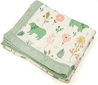 Floral Bear Muslin Swaddle Blankets, 4 Layers Baby Quilt for Boys Girls Toddlers, Everything Blanket, Stroller Cover, Larg...