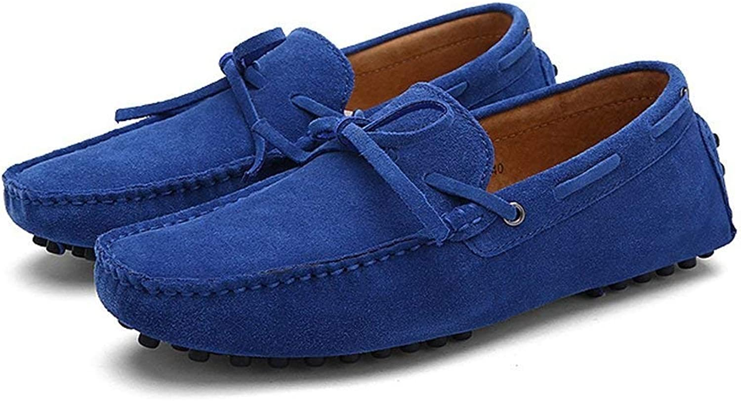Oudan Men's Moccasins shoes, Men Driving Penny Loafers Genuine Leather Boot Lightweight Moccasins (color  bluee, Size  49 EU) (color   As shown, Size   One size)