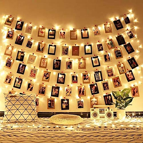 Liqing Fairy Lights Photo Clip String Lights Battery Powered LED String Lights with 40 Clips for Hanging Pictures Indoor Outdoor Lights for Bedroom Wall Decor Wedding Party 2 Pack-20 Clips Multicolor