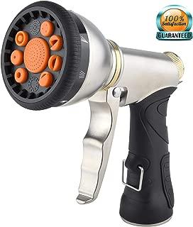 Garden Hose Nozzle Spray Nozzle Sprayer, Metal Water Hose Nozzle Heavy Duty, 9 Adjustable Patterns Pistol Grip Gun Nozzle, High Pressure Lawn Garden Sprayer for Plants, Car Wash, Cleaning, Pet Shower