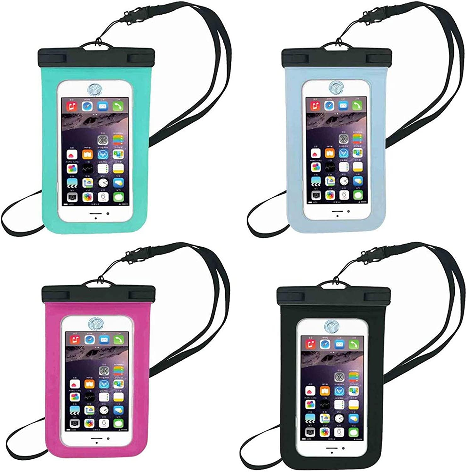 FourPiece Set Waterproof Pouch Cellphone Dry Bag Case Universal Design Makes Waterproof Case Bag Compatible with All Touch Phones Super