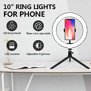 UFLIZOGH Anillo de luz LED 10 para fotográfica con 3 Modos de Luz de Escritorio Control Remoto Aro de Luz para Telefono Camara Youtube Selfie Video de Maquillaje