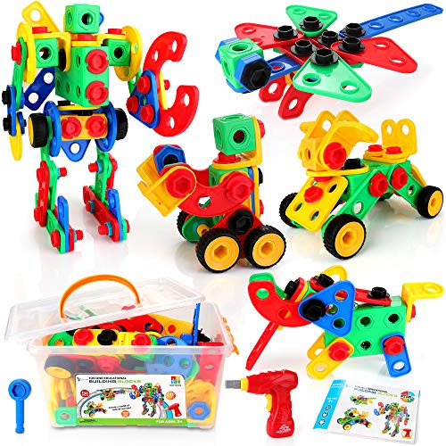 KIDWILL STEM Toy Building Kit, 152 PCS Building Blocks Educational Construction Set with Electric Screwdriver, Storage Box, Creative Learning Toys for 3-10 Boys and Girls