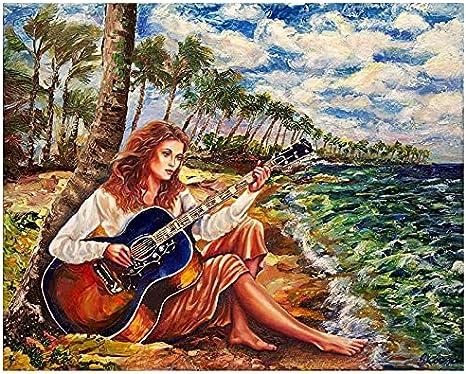 Diy 5d pintura de diamantes redondos belleza completa tocando la guitarra pintura de diamantes de imitación de punto de cruz por números 40*50
