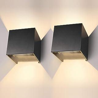 LEDMO 2 * 12W apliques pared interior LED,3000k blanco cálido Lámpara de pared led 1000lm , Impermeable IP65 Con Luz Blanco Cálido Lluminación de Exterior y De Interior,Negro (blanco cálido)