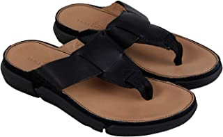 05873618c CLARKS Trisand Post Mens Black Leather Flip Flops Slip On Sandals Shoes