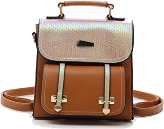 Fashion Cute Mini Square Backpack Pu Daypacks Fashion Small Daypacks Purse for Girls and Women (Color : Brown, Size : 21 * 8 * 22cm)