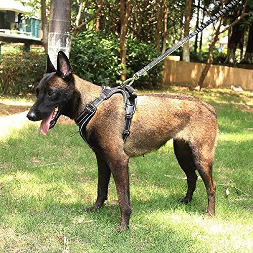 MixMart Arnés para Perro con Correa Ajustable Reflejante, Chaleco de Mascota con Asa, Pet Vest Collar with Handle para Paseo, Negro,(M)