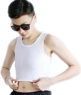 9612809a9c9f0 BaronHong Tomboy Trans Lesbian Mesh Chest Binder Plus Size Short Tank Top