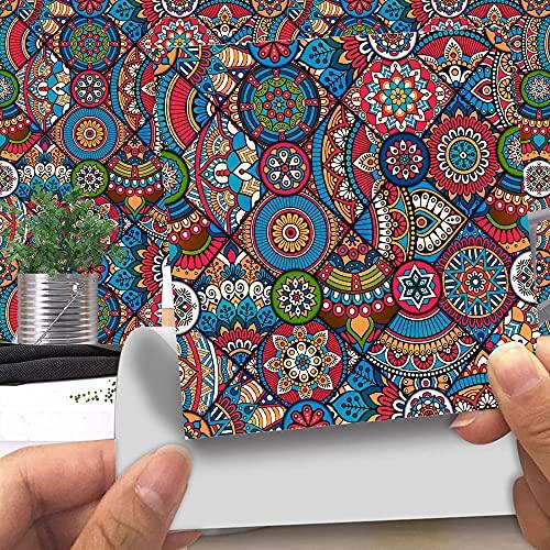 FVDS 20 unids Peel and Stick Tile Stickers, Coloridos Azulejos étnicos a Prueba de Agua Autoadhesivo para la Cocina Backsplash, decoración de baño y Chimenea (Color : LA002, Size : 10 x 10CM)
