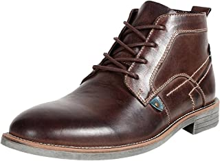 rismart Men's Ankle High Round Toe Popular Leather Chukka Boots