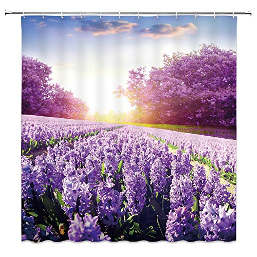 XZMAN Lavender Shower Curtain Summer Purple Flower Fantasy Garden Tree Country Life Sunrise Blue Sky Nature Scenery Rustic Farmhouse Bathroom Decor Quick Drying Polyester Set 70 Inches Include Hooks