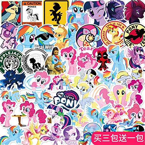 DONGJI My Little Pony Pegatina Lindo Cuaderno de Dibujos Animados Tableta Taza de Agua teléfono Tableta decoración Impermeable 50 Uds