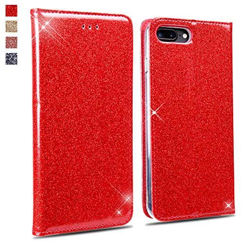 OKZone Cover iPhone 8 Plus/iPhone 7 Plus, Custodia Lucciante con Glitters Design Flip Caso in Pelle PU con Interno TPU Protettiva Cover per Apple iPhone 8 Plus/iPhone 7 Plus (Rosso)