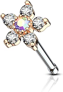 Forbidden Body Jewelry 20g Surgical Steel Nose Stud Big Bling Two-Tone 6-CZ Crystal Flower Top