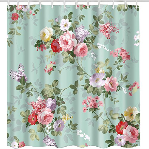 BROSHAN Rose Flower Shower Curtain,Vintage Natural Pink Flower Leaves Bath Curtain, Aqua Print Fabric Waterproof Bathroom Accessories with Hooks