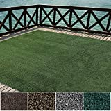 iCustomRug Indoor/Outdoor Turf Rugs and Runners in Green 12'X8' Low Pile Artificial Grass with Bound Pre-Finished Edges - Available in Many Other Sizes and Widths