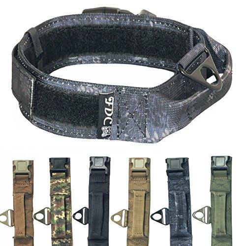 """FDC Heavy Duty Military Army Tactical K9 Dog Collars Handle Hook & Loop Width 1.5in Plastic Buckle Medium Large (XL: Neck 14"""" - 18"""", Kryptek Black)"""